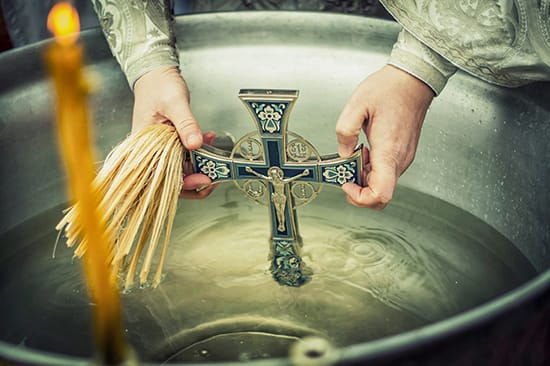 Christian                 cross for baptism rituals